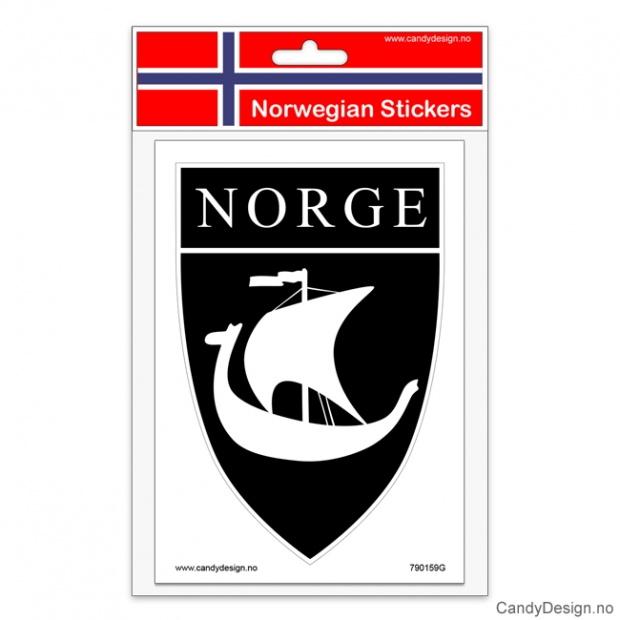 Suvenir klistremerker med vikingskip og Norge