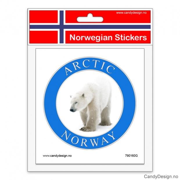 Runde suvenir klistremerker med Arctic Norway og isbjørn