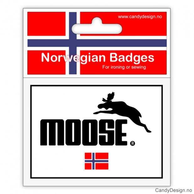 Suvenir jakkemerke med elg motiv og Norsk flagg